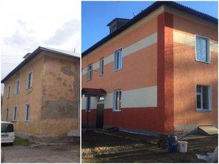 Впервые при капремонте фасада в Сорске применили декоративную штукатурку